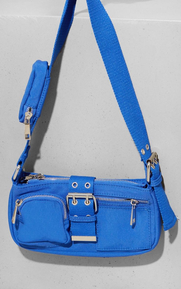 Electric Blue Multi Pocket And Zip Shoulder Bag 1