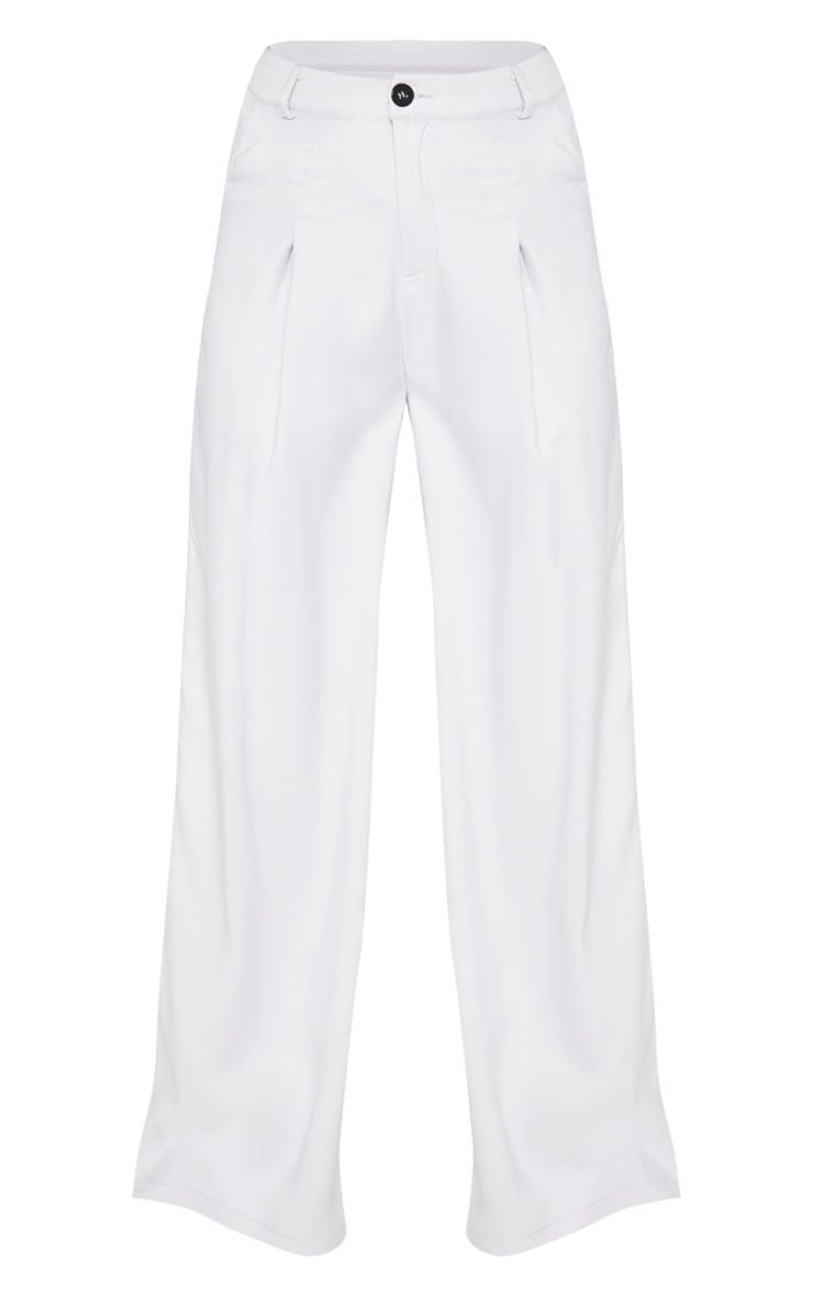 Grey Wide Leg Woven Pleat Pants 3