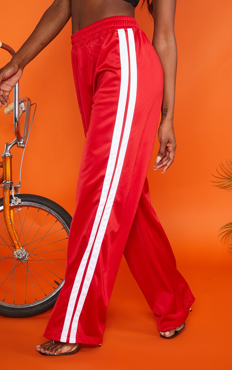 Red Sports Stripe Wide Leg Joggers 2