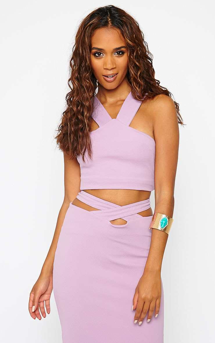 Shanel Mauve Crepe Halter Neck Crop Top 1