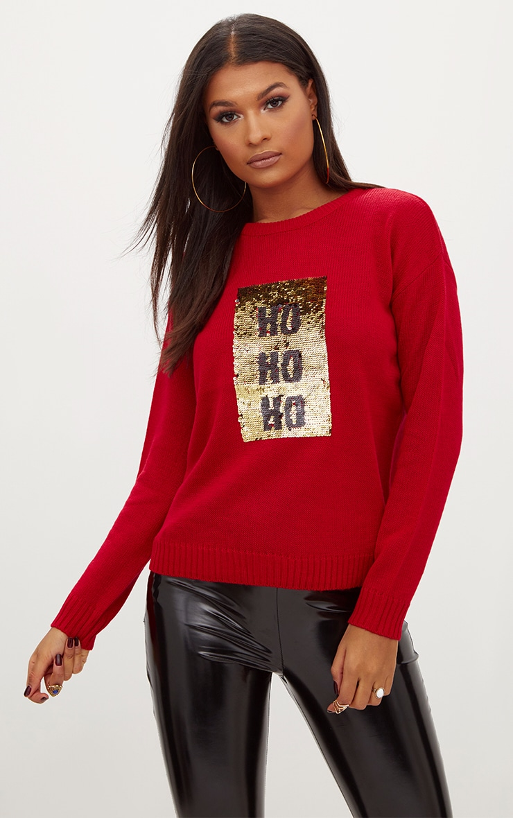 Red Ho Ho Ho Reversible Sequin Jumper 1