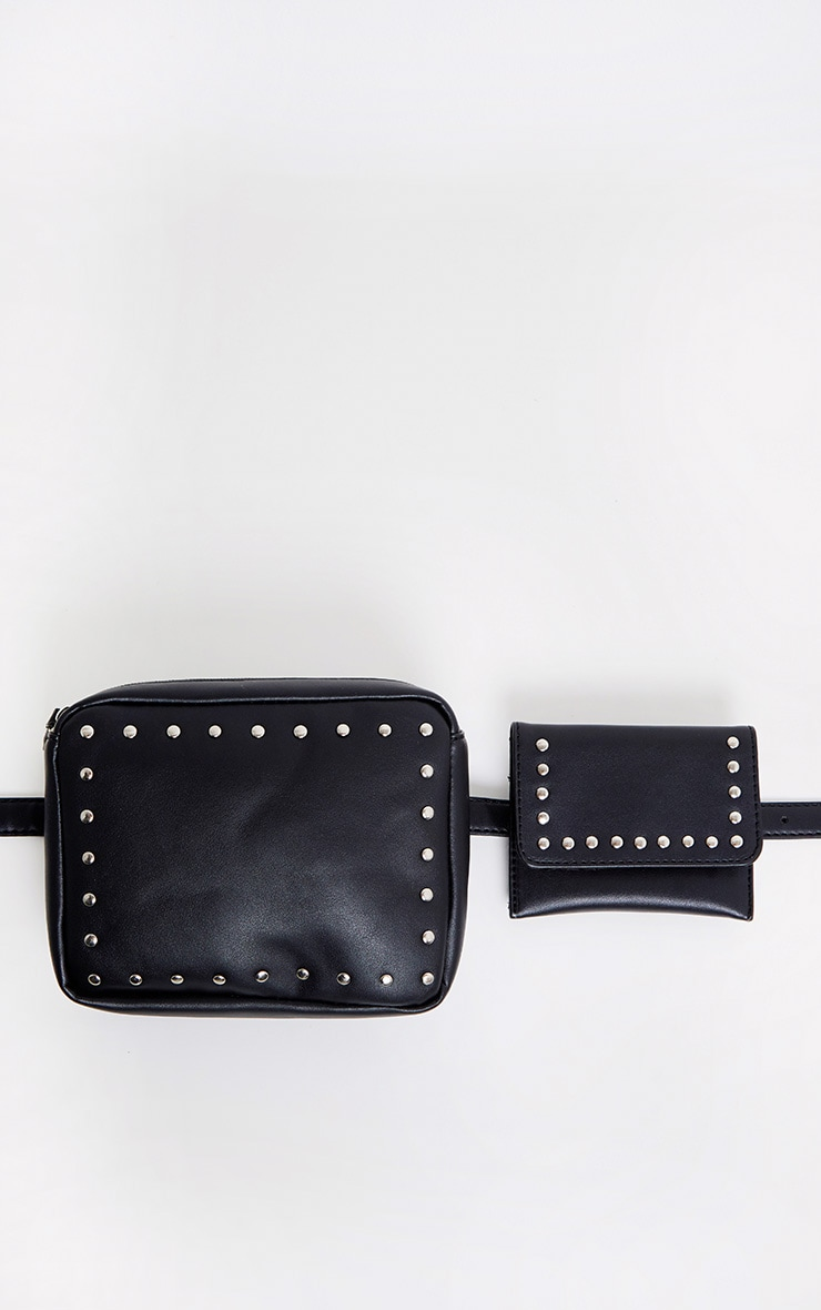 Black Studded Belted Double Bum Bag 2