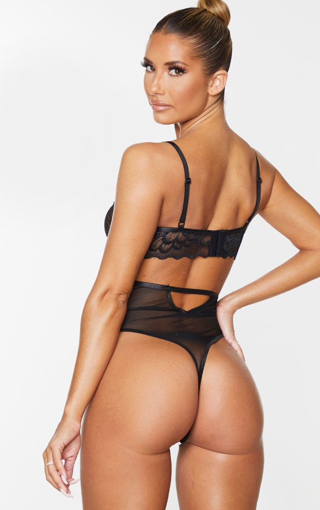 Black Underwired Cut Out Lace Body 2