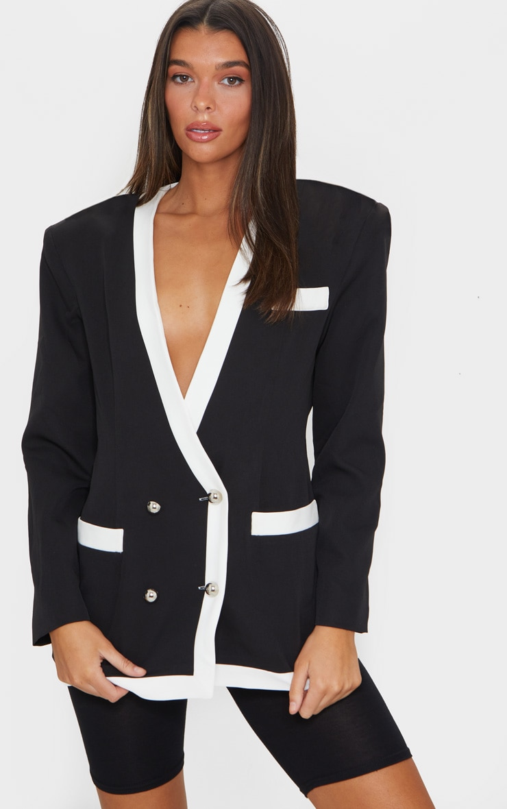Black Military Contrast Oversized Blazer 3