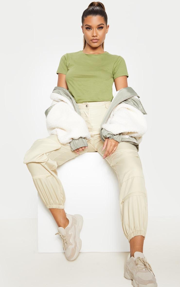 Sage Khaki Fitted Short Sleeve T Shirt 4