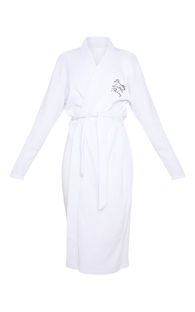 PRETTYLITTLETHING White Embroidered Long Waffle Dressing Gown 5