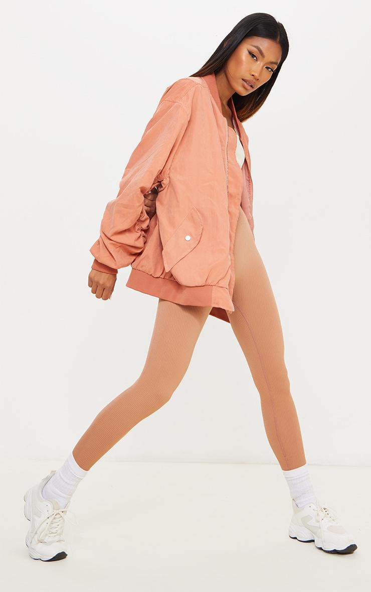 Peach Peach Skin Oversized Ruched Sleeve Bomber Jacket 3