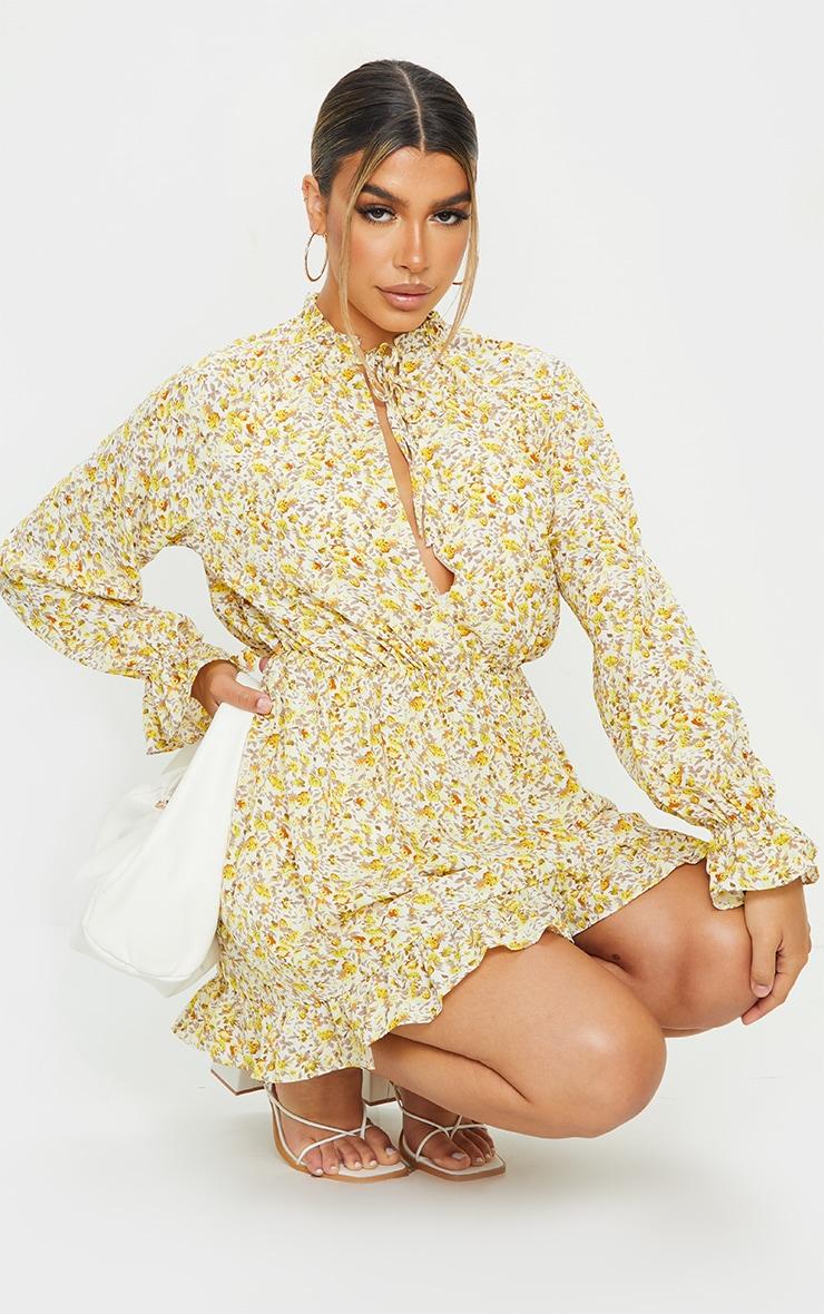 Lemon Floral Print Elasticated Frill Cuff Smock Dress 1