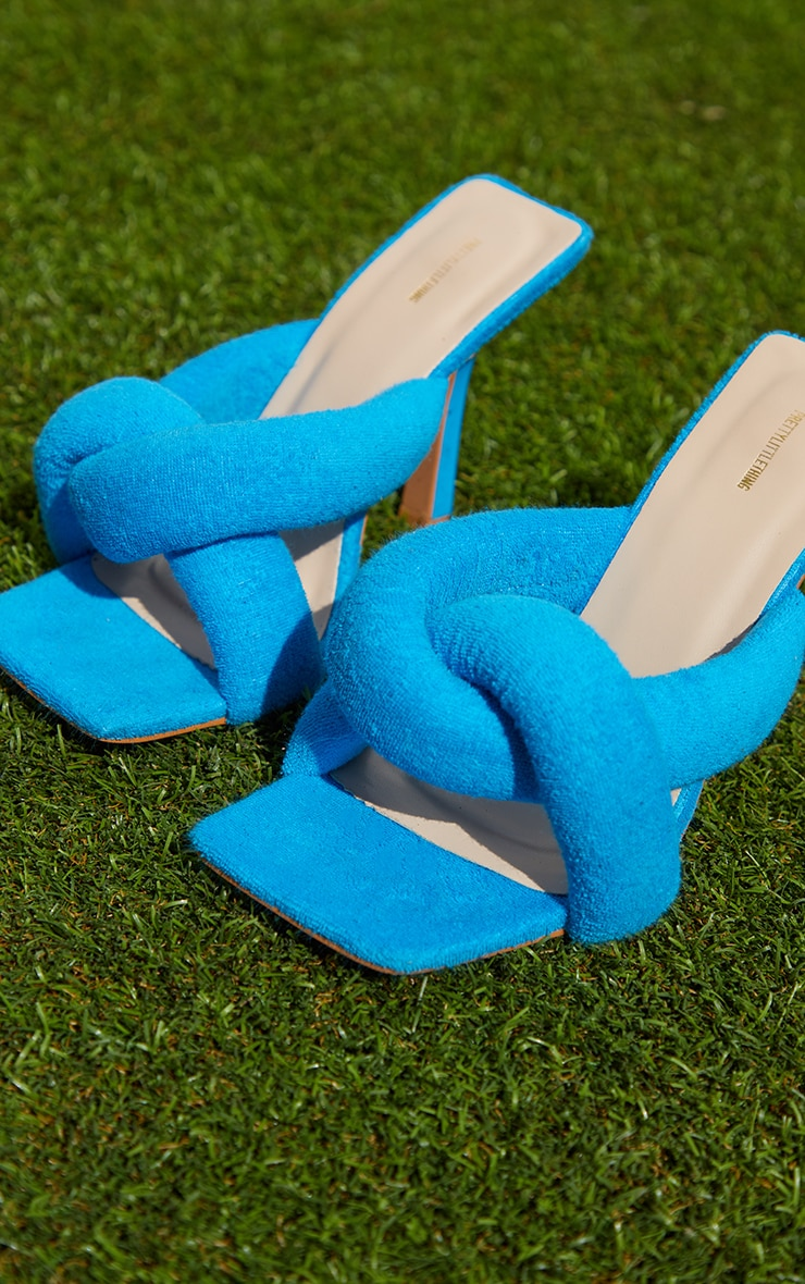 Blue Towelling Quilted Knot Detail High Heeled Mules 3