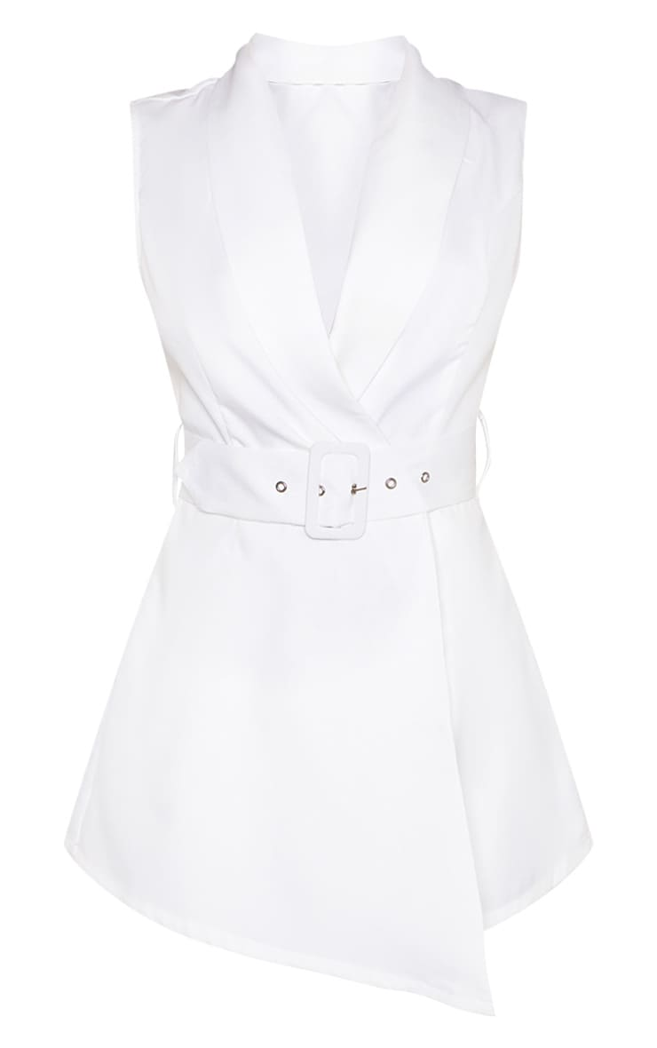 White Tailored Belted Romper 3