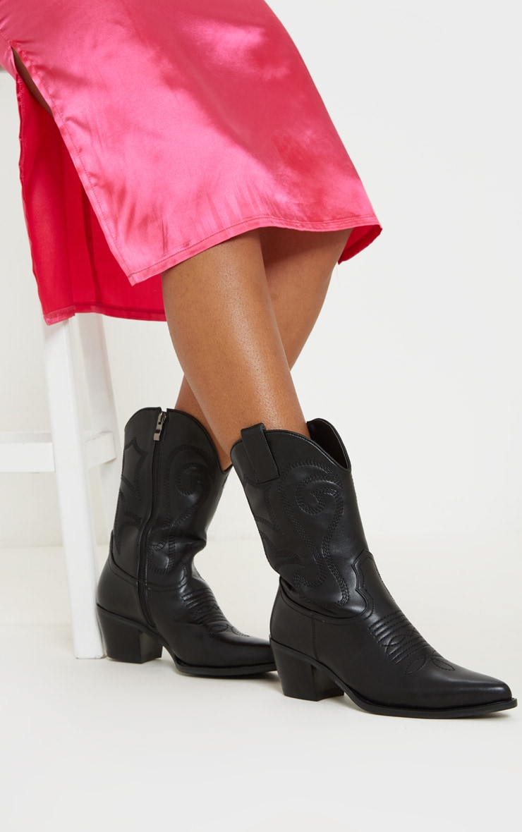 Black Stitch Detail Western Calf Boot 2