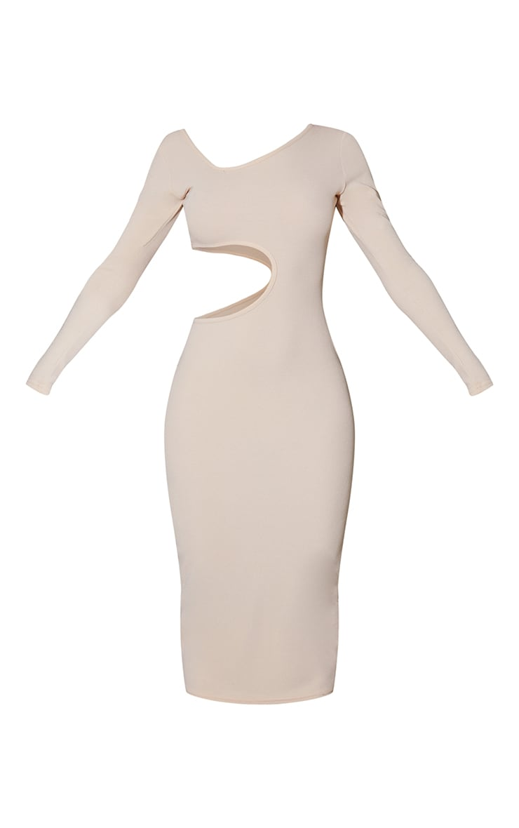 Stone Ribbed Long Sleeve Cut Out Midaxi Dress 5