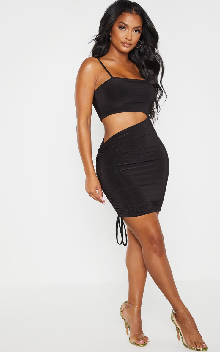 Shape Black Slinky Cut Out Side Ruched Bodycon Dress 1