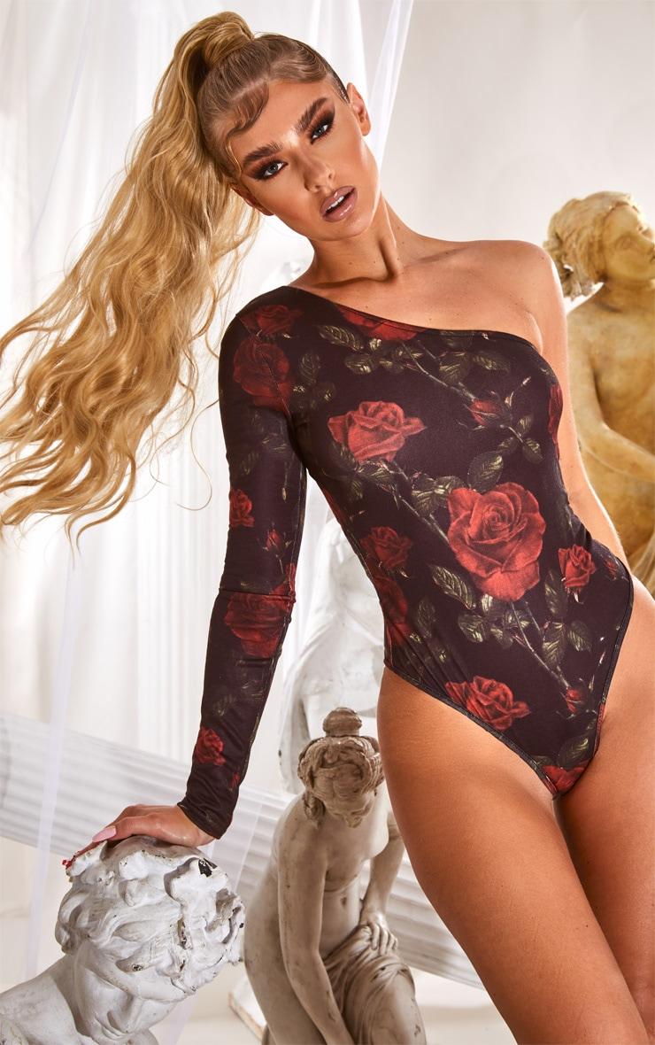 Body à manche longue unique et imprimé floral noir 2