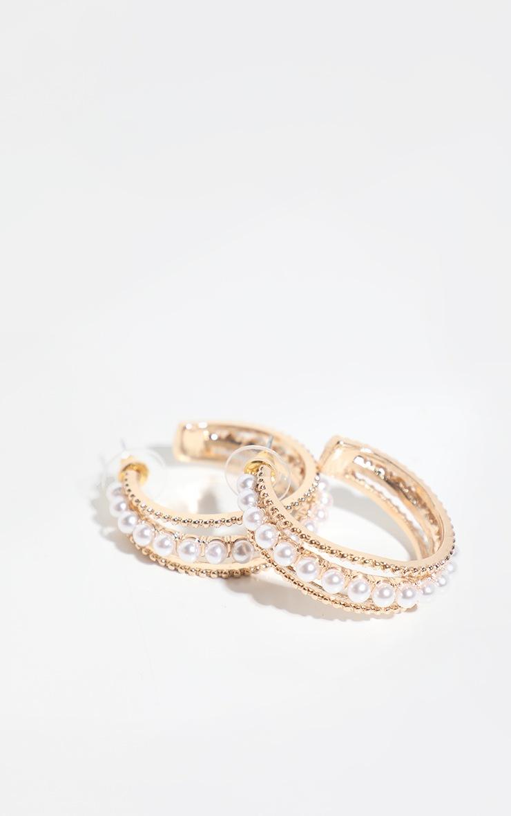 Gold Pearl Detail Small Hoop Earrings 2