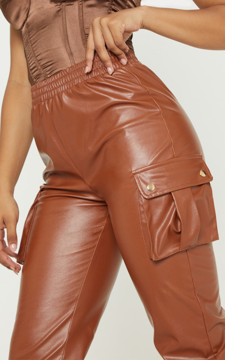 Tall Rust Faux Leather Pocket Detail Joggers  5