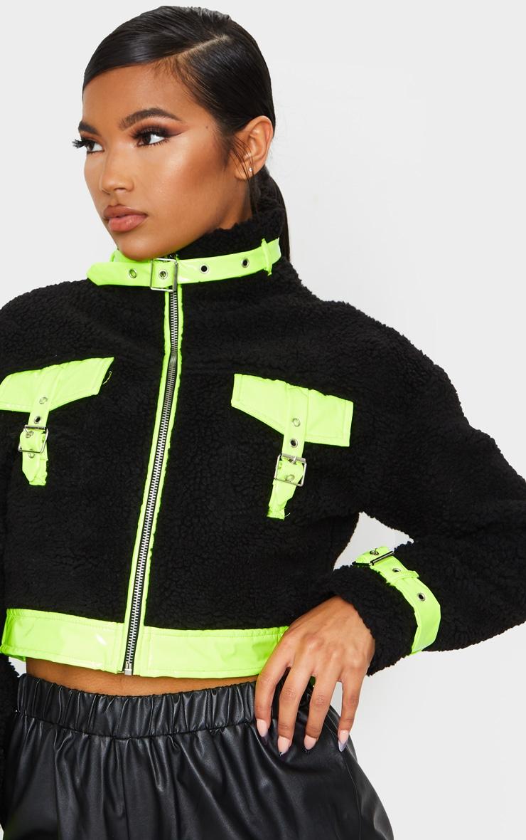 Black Borg Contrast Trim Zip Through Jacket 4