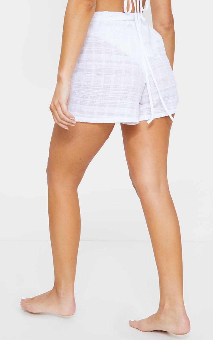 White Tie Waist Textured Beach Shorts 3