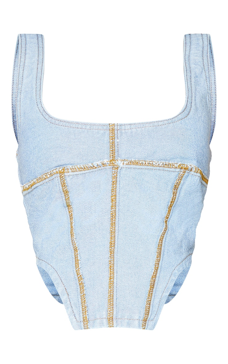 Shape Mid Blue Wash Seam Detail Curved Hem Denim Crop Top 5