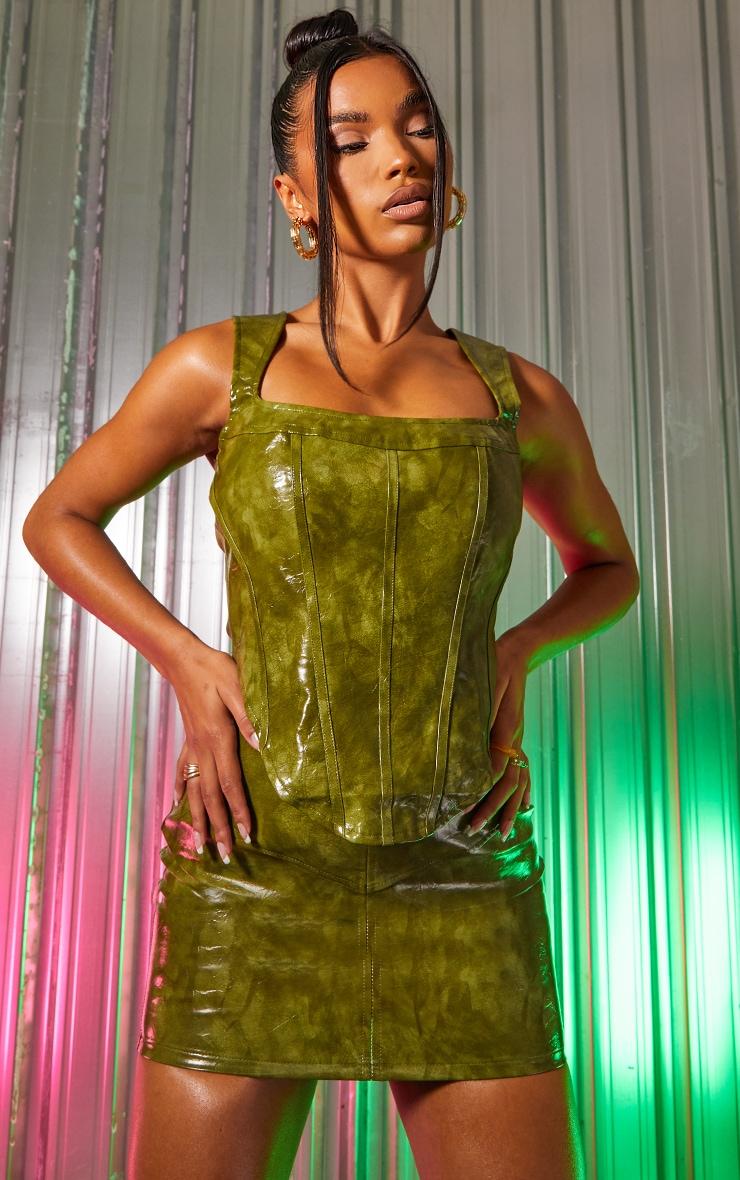 Green Vinyl Panelled Mini Skirt 4