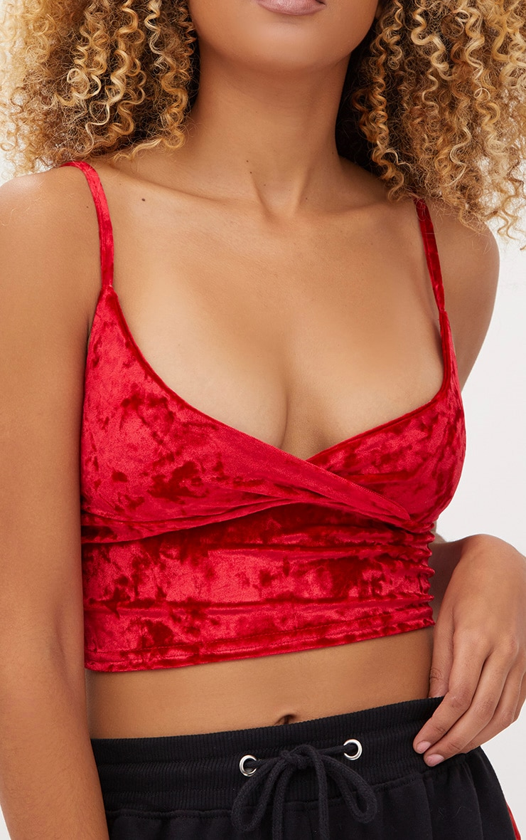Red Crushed Velvet Bralet 5