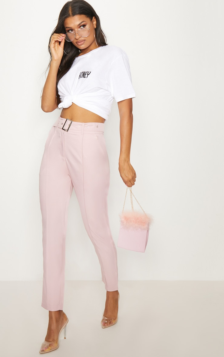 Dusty Pink Belted Tailored Trousers