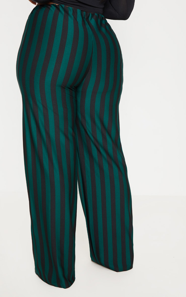 Plus Emerald Green High Waisted Crepe Stripe Wide Leg Pants 4