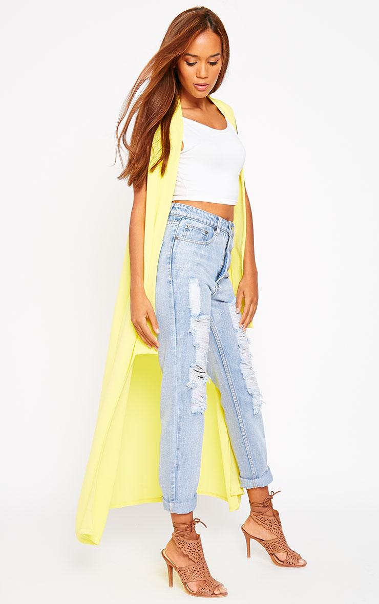 Georgena Yellow Sleeveless Duster Coat 4