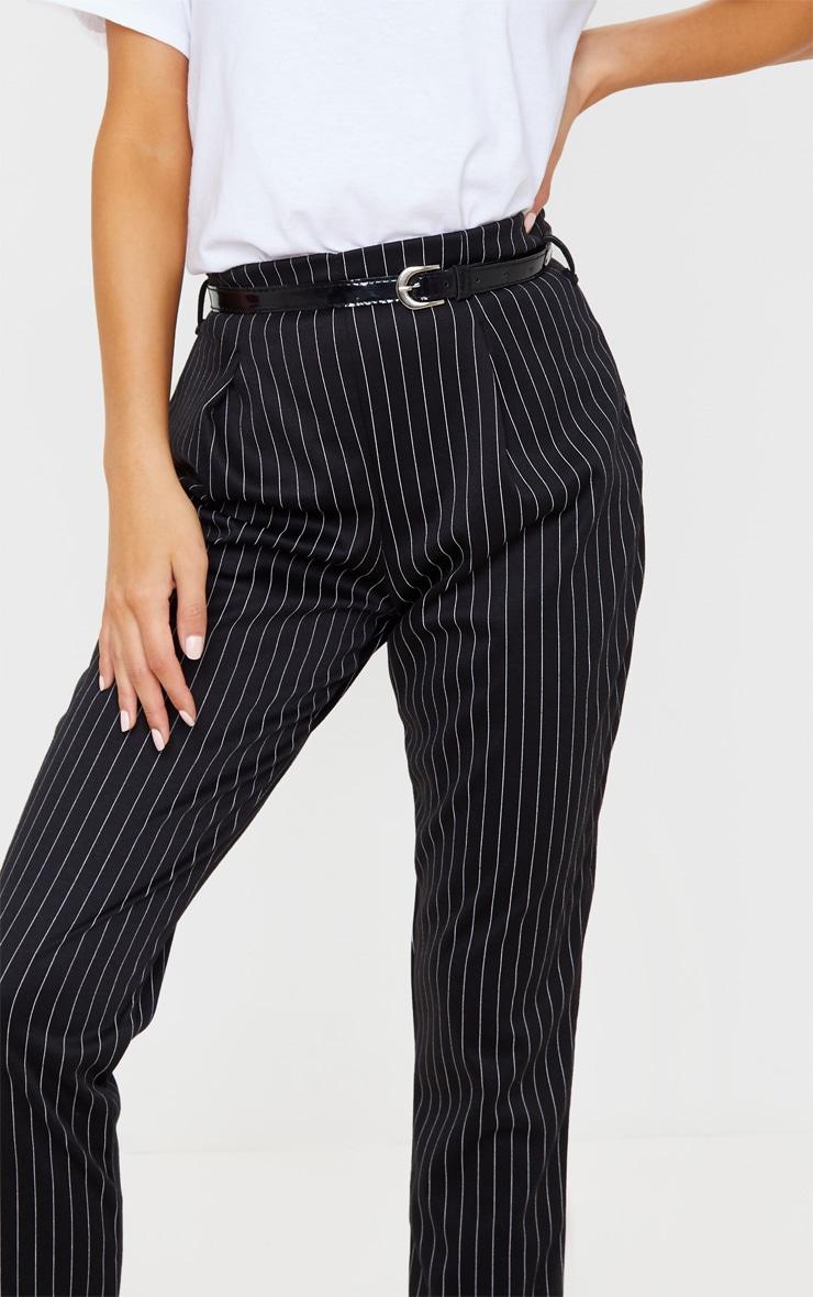 Black Pinstripe Belted Skinny Trousers 5