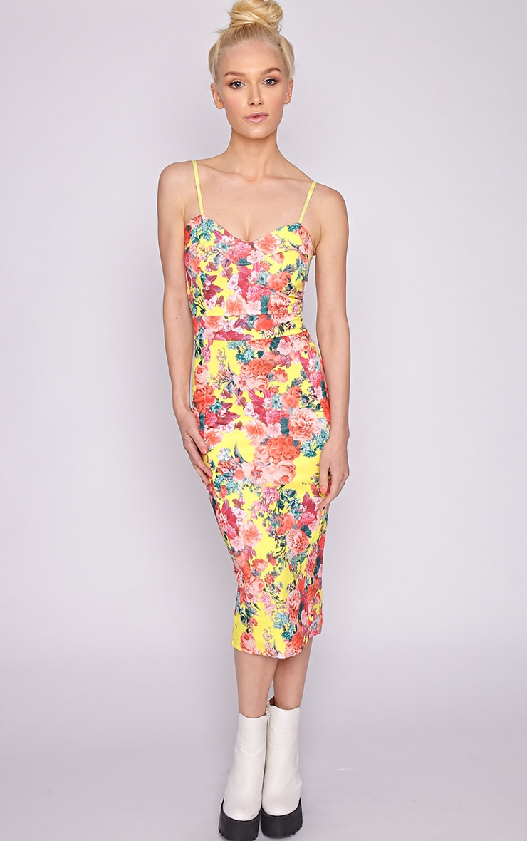 Selena Yellow Floral Midi Dress 1