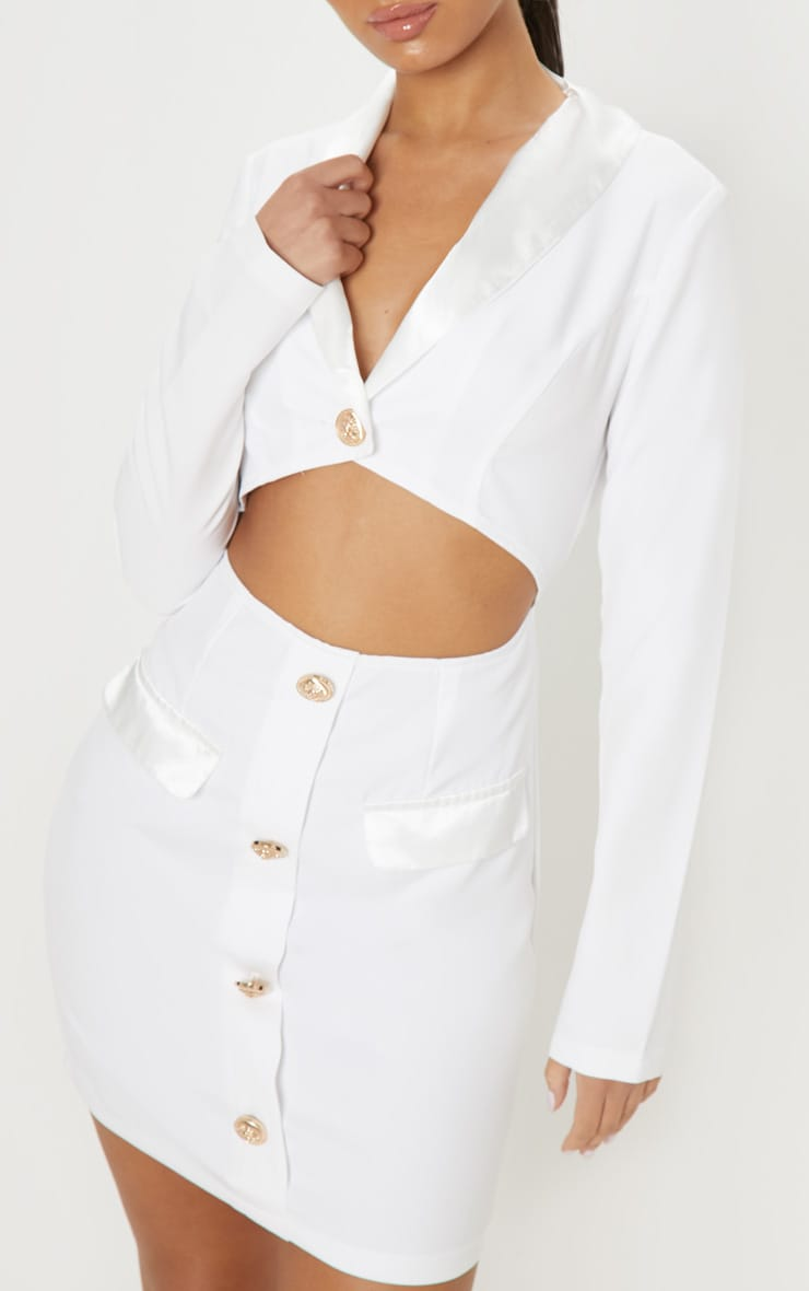 White Gold Button Satin Insert Cut Out Blazer Dress 5