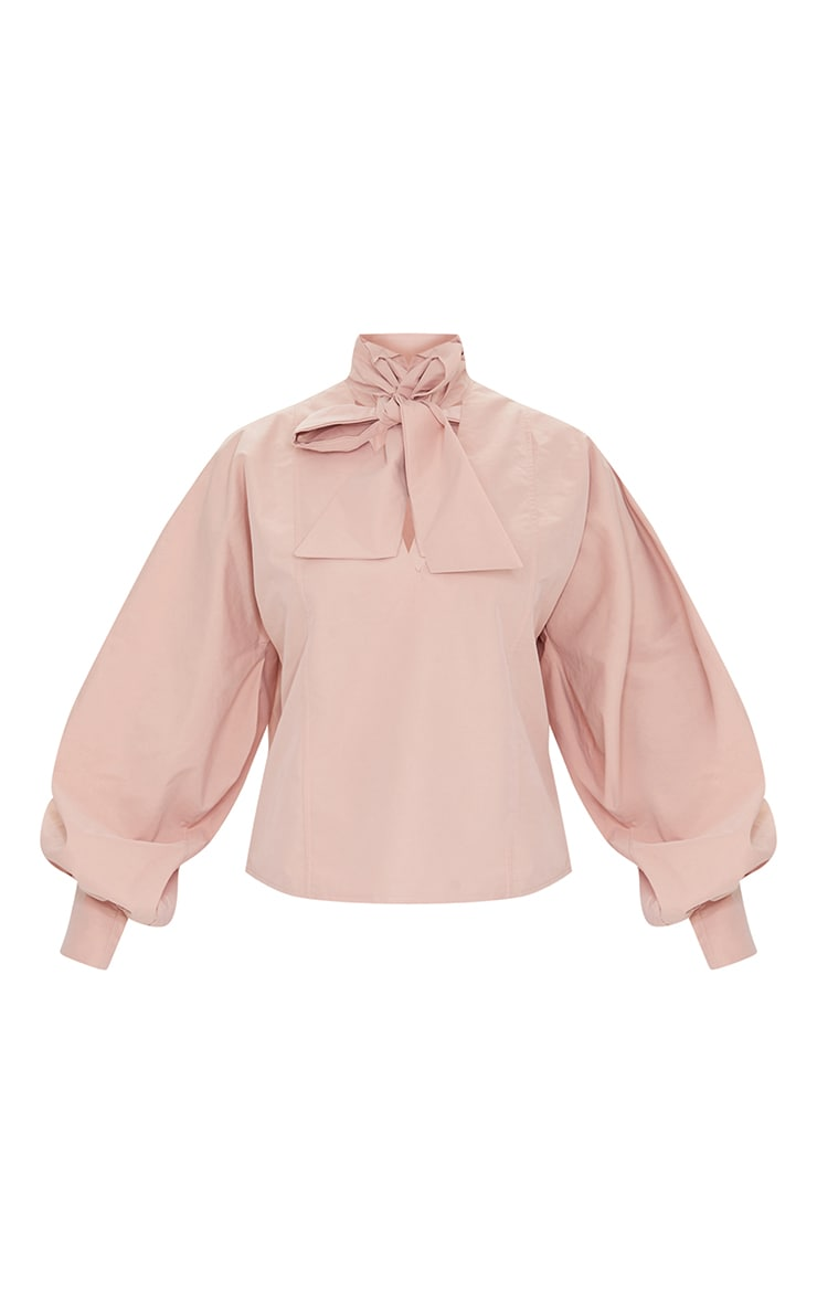 Nude Woven Plunge Pussy Bow Blouse 5