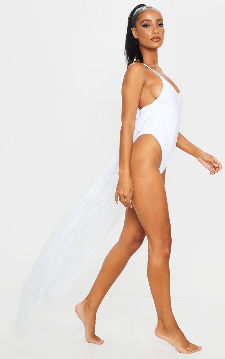 White Bridal Bow Back Lace Train Swimsuit 3