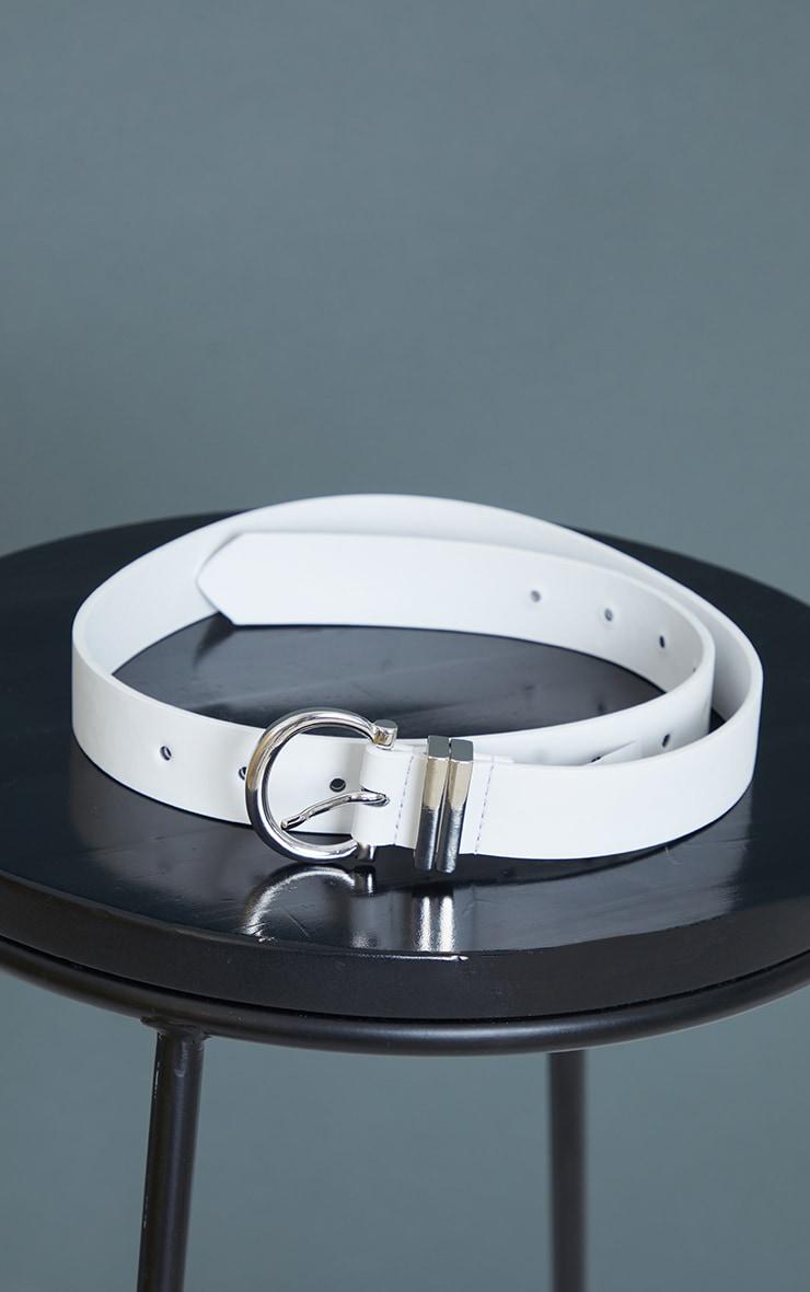 White PU Silver Horseshoe Buckle Belt 2