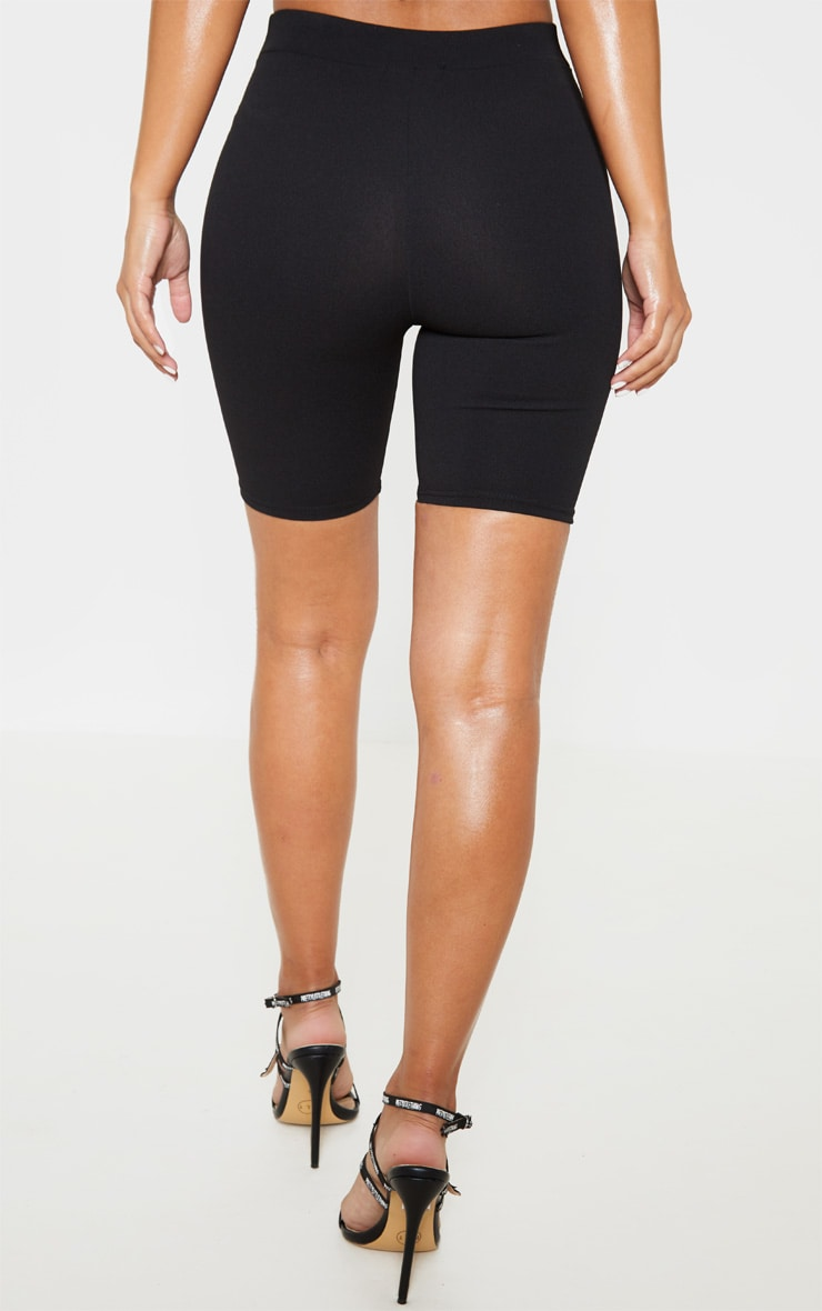 Petite Black Stretch Crepe Cycling Shorts 4
