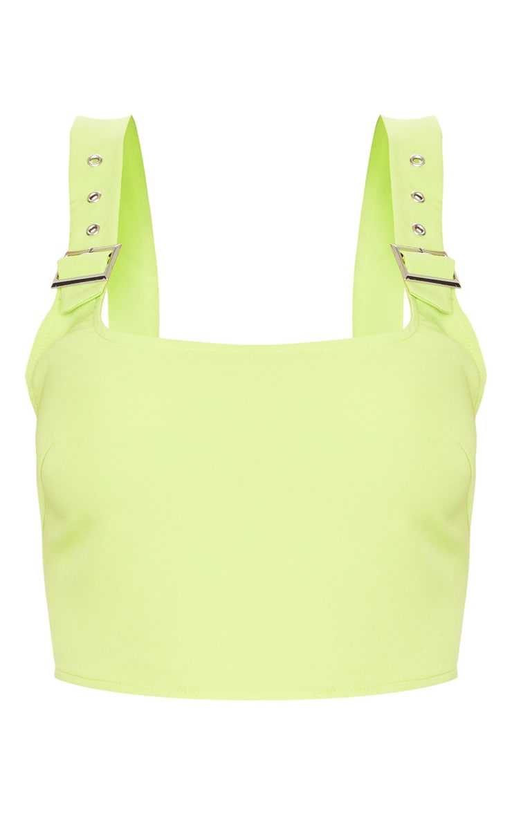 Lime Woven Buckle Strap Crop Top 6