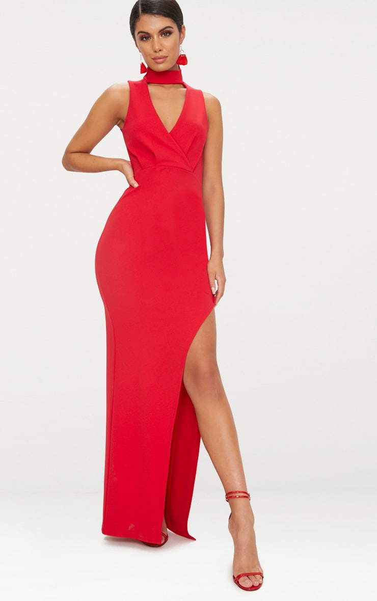 Red Wrap Over Cut Out Plunge Extreme Split Maxi Dress 1