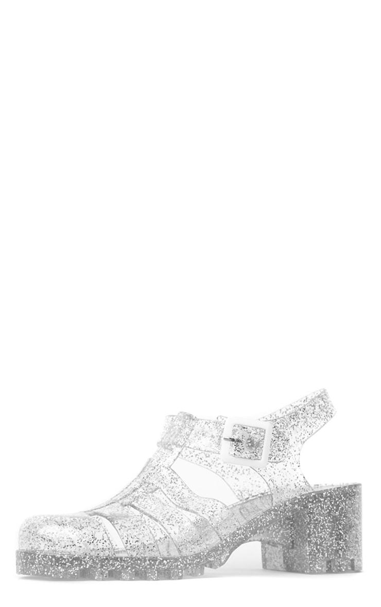 Billie Silver Glitter Heeled Jelly Sandals 4