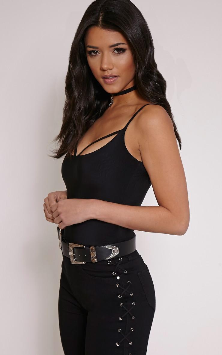 Kiya Black Strap Detail Bodysuit 3