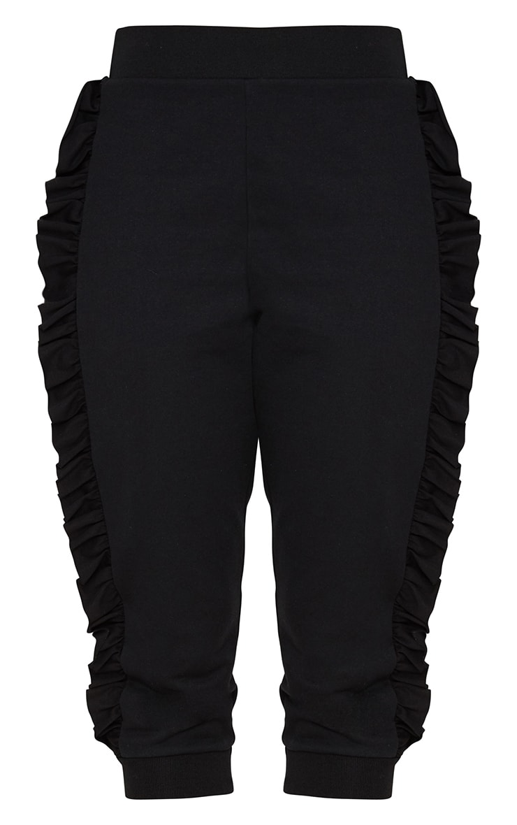 Black Cropped Side Frill Joggers 3