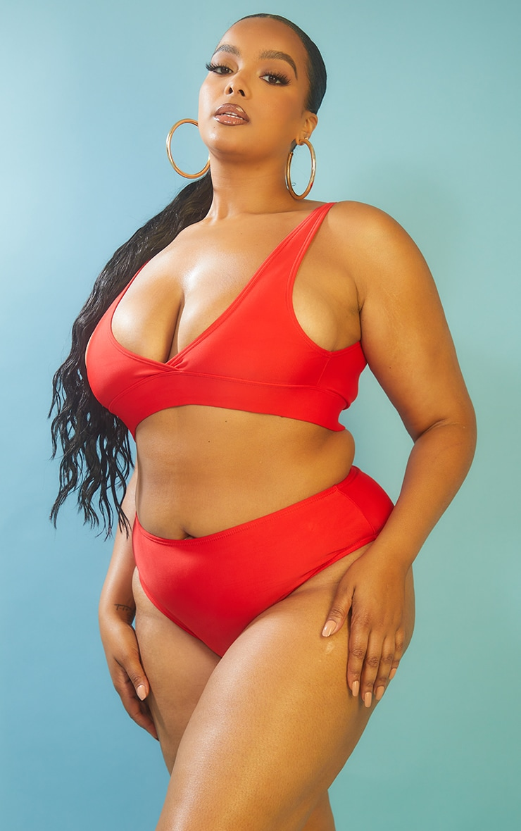 Recycled Plus Red Mix & Match High Waist Bikini Bottoms 2
