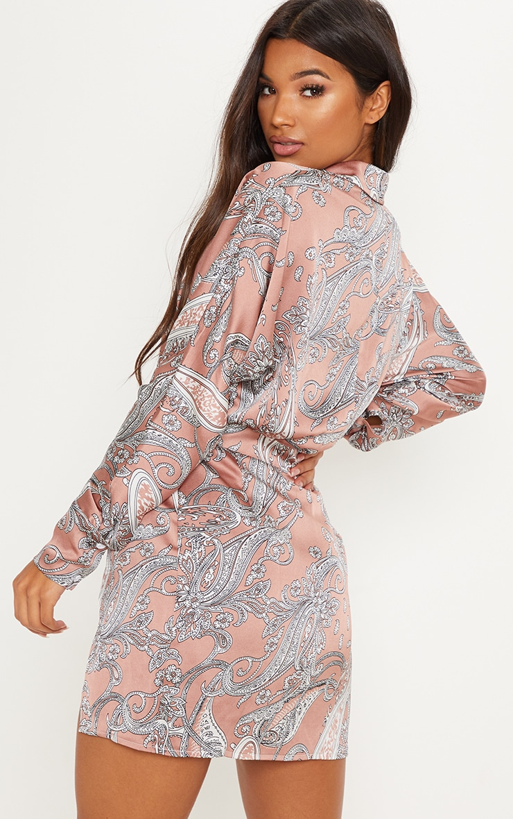 Dusty Pink Paisley Print Plunge Front Bodycon Dress 2