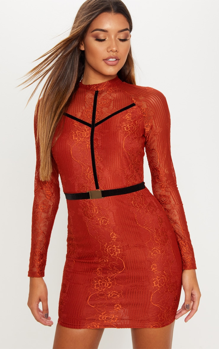 Rust Ribbed Lace Backless Bodycon Dress 4