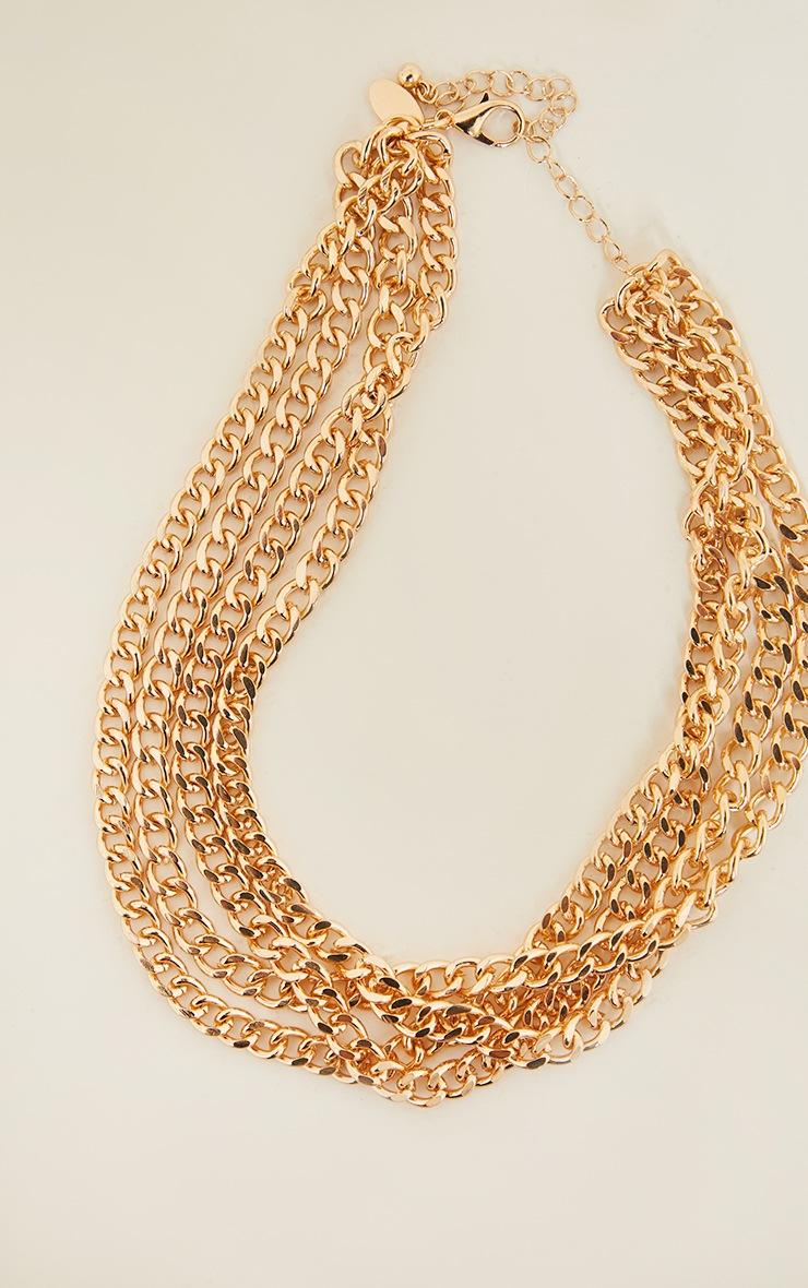 Gold Four Row Chain Choker 3