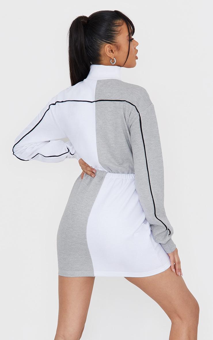 Grey Contrast Block High Neck Toggle Waist Sweatshirt Dress 2