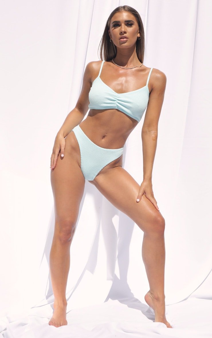 Blue Crinkle Ruched Front Scoop Bikini Top 3