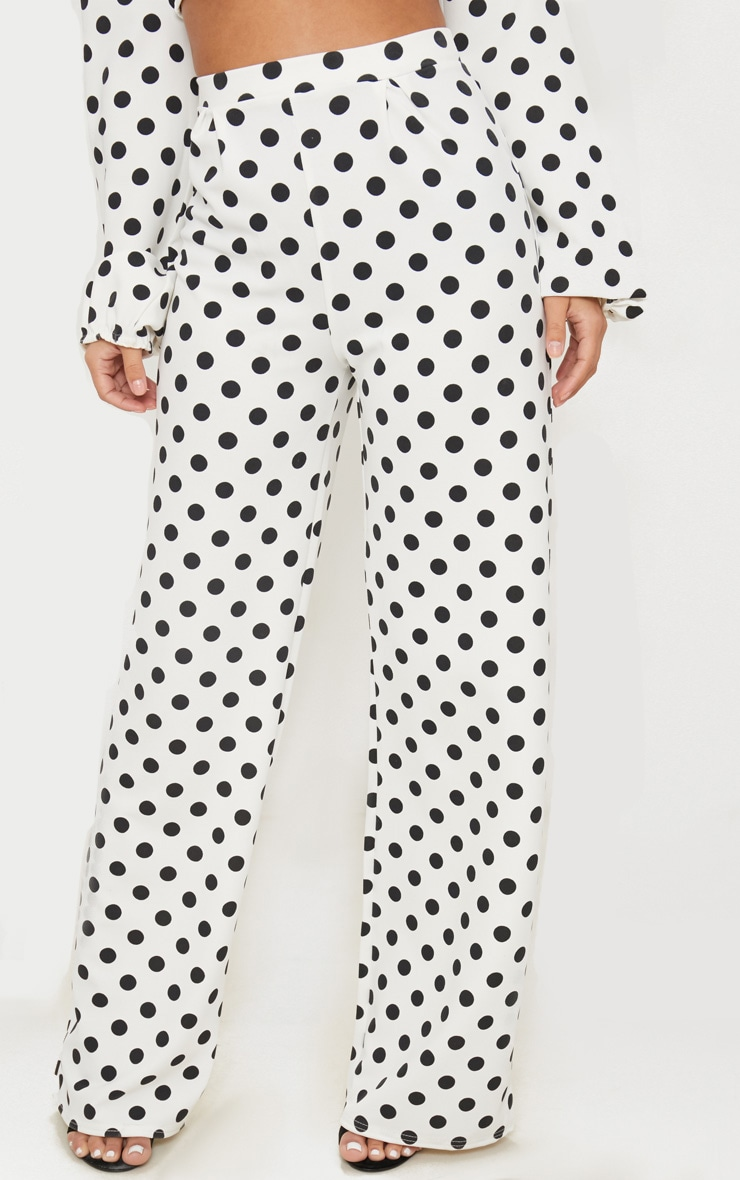PETITE WHITE HIGH WAIST POLKA DOT WIDE LEG TROUSERS