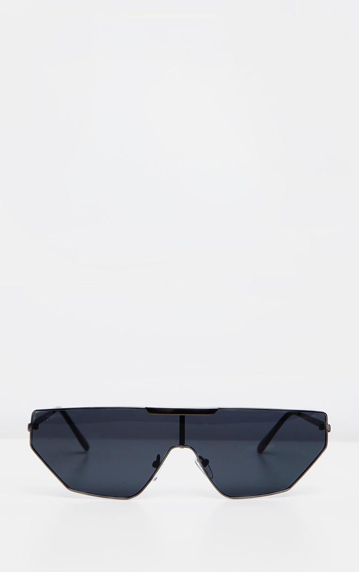 Lunettes de soleil noires fines style visière 2