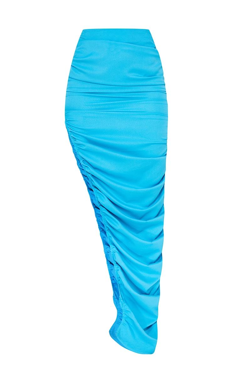 Bright Blue Woven Ruched Side Detail Split Leg Midaxi Skirt 5
