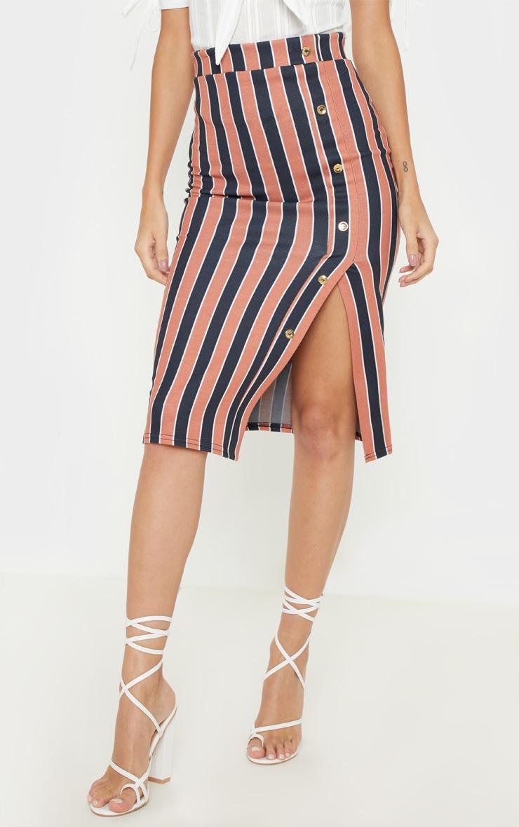 Rust Stripe Popper Front Midi Skirt 2